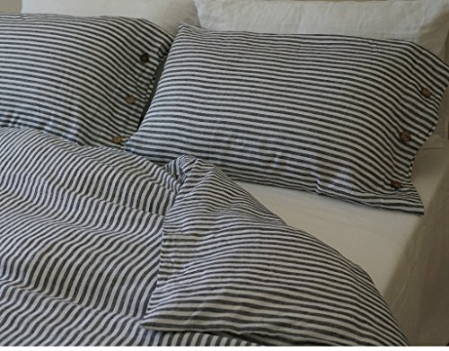 Navy and White Stripe Duvet Cover with Wood Button Closure, Natural Linen Duvet Cover,Ticking Striped Bedding, Linen Bedding, Queen Duvet Cover, King Duvet Cover, Twin Duvet Cover, FREE SHIPPING