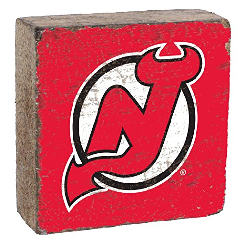 Rustic Marlin Designs NHL New Jersey Devils, Team Colors Background, Team Logo Block, 6