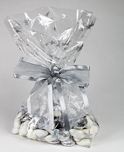 Silver Stars Cellophane Treat/Party Favor Bags with Twist...