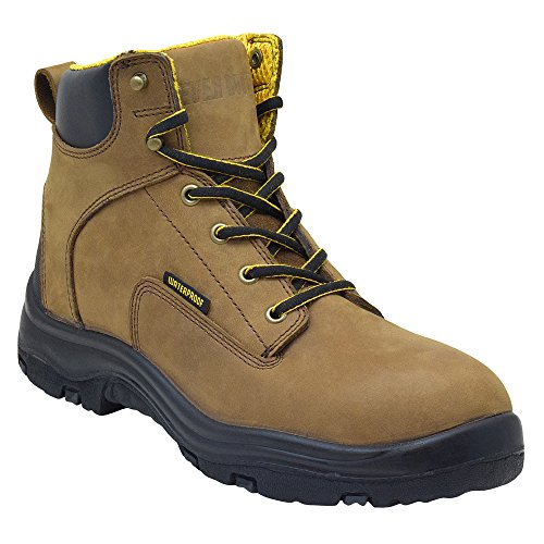 Construction Work Boot (EVER BOOTS Men's Premium Leather Waterproof Work Boots Insulated Rubber Outsole for Hiking (10.5 D(M), Copper))