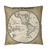 1 Piece Beige Multi French World Map III Print Large Throw/ Floor Pillow 40-Inch, Beautiful Classic Architectural Design, Bold Graphic Theme Sofa Cushion, Casual Style, Soft & Comfy Durable Polyester
