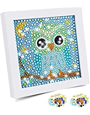 Diamond Painting Kit for Kids with Wooden Frame Easy to DIY Full Drill Painting by Number Kits 5D Diamond Painting Art and Crafts Set Home Wall Decoration Frame