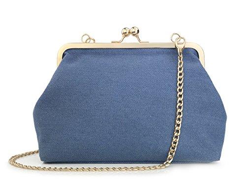 Hoxis Kiss Lock Framed Clutch Women's Cross Body Handbags Blue