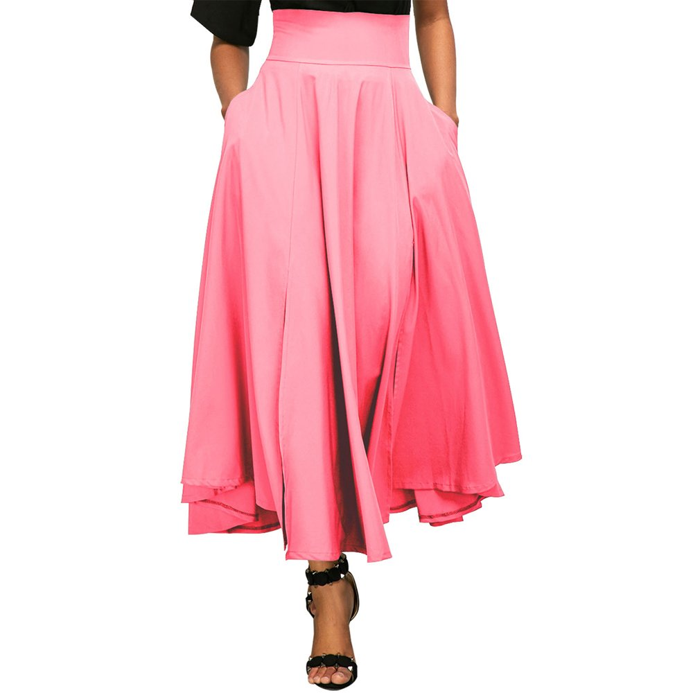 Eiffel Women's High Waist A-line Ankle Length Office Maxi Long Flared Skirt Dress with Pocket ((US 18-20) XX-Large, Pink)