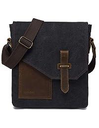 Messenger Bag,VASCHY Vintage Small Canvas Leather Lightweight Crossbody Bag Dark Gray