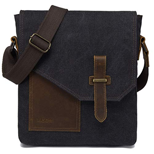 (Small Messenger Bag,VASCHY Vintage Canvas Leather Lightweight Crossbody Bag)