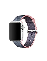 Apple Watch Band Pinhen Newest Fine Woven Nylon Strap Replacement Wrist Band With Stainless Metal Clasp For Apple Watch iWatch Series 1 Series 2 (38MM Pink)