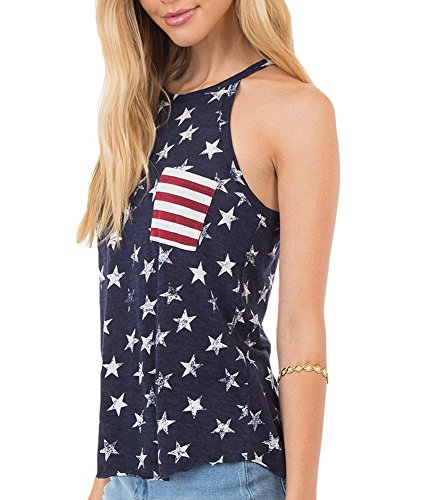 Qrupoad Womens Sexy Open Back American Flag Summer Sleeveless Pocket Tees Shirts Tank Tops