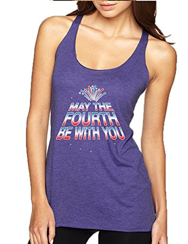 Allntrends Women's Tank Top May The Fourth Be With You Cool 4th of July (S, Purple Rush)