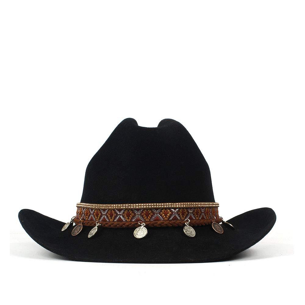LL Women's 100% Wool Vintage Style Wool Blend Wide Stiff Brim Western Cowboy Hats Tassel Bohemia Ribbon Cowgirl Caps (Color : Black, Size : 56-59cm) by LL (Image #3)