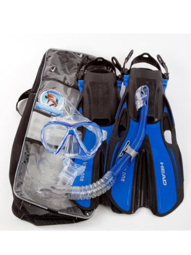 Head Marlin Purge Mask/Snorkel/Fin Set Dry Set - Blue - Larg