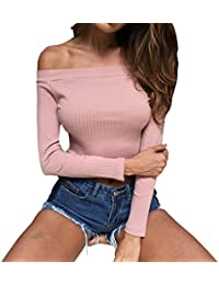 Womens Slim Off Shoulder Long Sleeve Rib-Knit Crop Pullover Tops