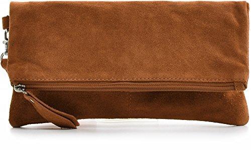 CNTMP - bolso para señora, clutches, clutch, bolsos de mano, bolsos, bolsos de fiesta, bolsos de tendencia, gamuza, ante, bolso de cuero (pequeño, tabaco), 21x12x2,5cm (l x an x a)
