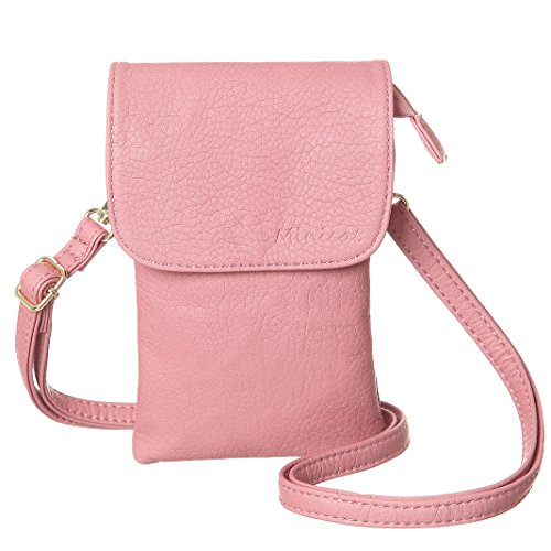 MINICAT Women Small Crossbody Bag Cell Phone Purse Wallet With Magnetic Button(Pink) (Button Women Shoulder Bags)