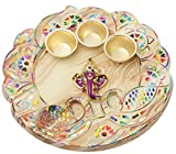 GIVE Ethnic Gifts,better appreciated than gift cards Premium Elegant Ganesha Tray with 3 vatis for Haldi Kumkum and Rice Pooja Thali for auspicious occasions priceless gifts packed in a giftable box
