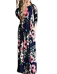 Women's Summer Long Sleeve Floral Boho Floor Length Maxi Dress