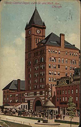 Illinois Central Depot Chicago Original Vintage Postcard