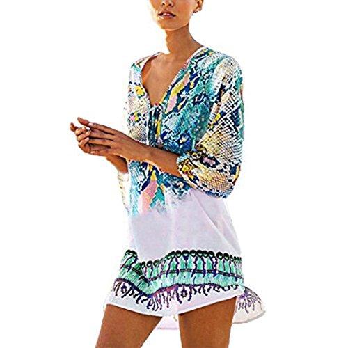 Jupe Femmes! Yanhoo Femmes Couvrent Bohme t Floral Boho Robe Dames Maillot De Bain Beachwear Bikini Robe Mode Filles t Casual Mousseline De Soie Robe De Plage Jupes Bleu