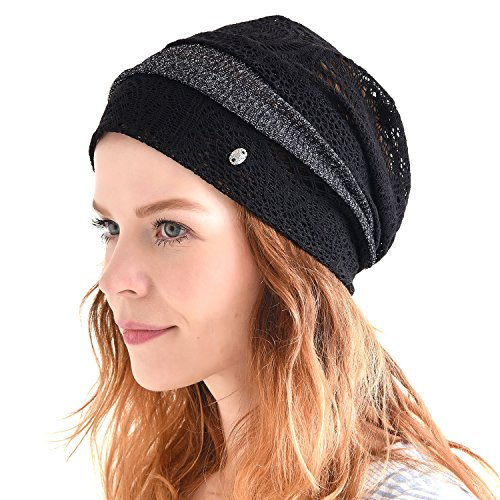 Free Lace Knit Patterns (Casualbox Womens Loose Knit Lace Beanie Hat Black,Free Size)