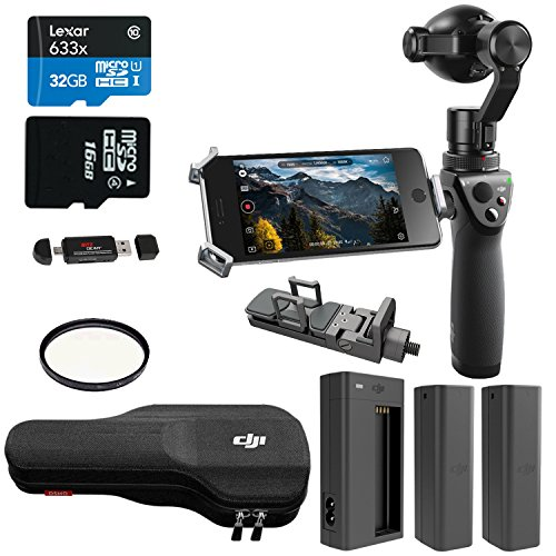 DJI OSMO Handheld Fully Stabilized 4K Camera 425, DJU Battery, DJI Battery Charger, Lexar 32GB Memory Card, Ritz Gear Card Reader and Accessory Bundle