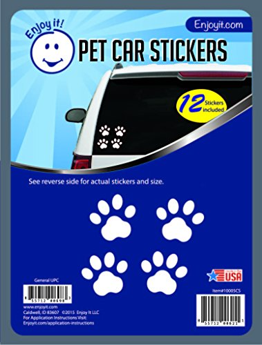 (Enjoy It Pet Paw Car Stickers, 12 Pawprint Stickers, Outdoor Rated Vinyl Sticker Decals for Windows, Bumpers, Laptops or)