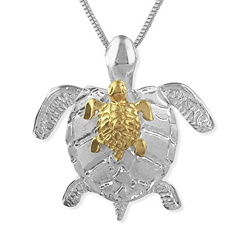 Sterling Silver with 14kt Yellow Gold Plated Accents Mother and Baby Turtle Pendant Necklace, 16+2