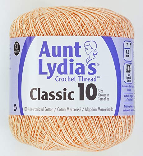 Coats Crochet Aunt Lydia's Crochet, Cotton Classic Size 10, Light (Crochet Cotton Light Peach)