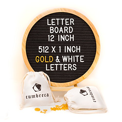 Black Round Felt Letter Board 12Inches - Original Changeable Message Board Sign in Wooden Frame with Stand, 512 White and Gold Letters & Symbols + 2 Bags by Cumbreca