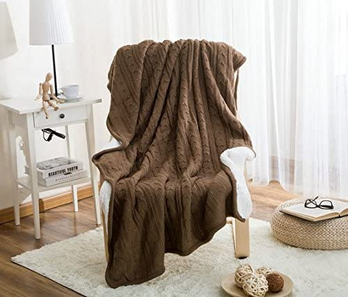 Riho Thickening Warm Cotton and Wool Twist Knitting Sofa Blanket, Baby Blanket, Bedding Blanket and Travel Blanket for Autumn and Winter, 120 cmx180cm (Dark Brown)