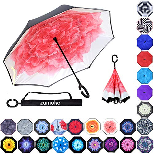 Zameka Double Layer Inverted Umbrellas Reverse Folding Umbrella Windproof UV Protection Big Straight Umbrella Inside Out Upside Down for Car Rain Outdoor with C-Shaped Handle (Lotus)