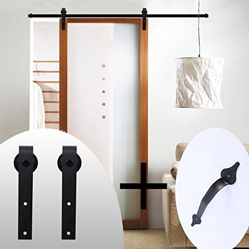 LWZH Simple Style 9FT Sliding Wood Barn Door Hardware Kit for Single Door(Black J-Shaped Hangers) Includes 1 Pack Sliding Door Handle Closet Gate Cabinet Closet Door Handle Set by LWZH