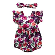 Seven Young Newborn Baby Girls Floral Print Backless Romper Infant Kids Jumpsuit Outfit Playsuit Clothes(Floral#2, 3-6 Months)