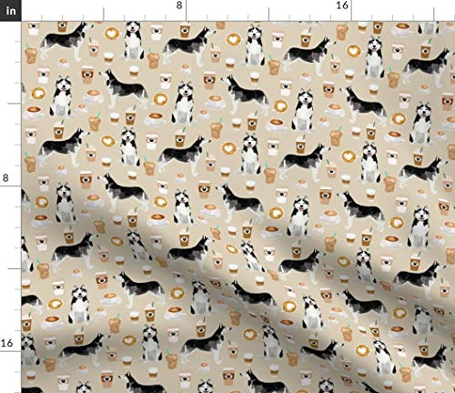 Spoonflower Husky Coffee Fabric - Husky Huskies Dogs Siberian Husky Cute Dogs Coffee Eco-Friendly Pet Portrait Gift by Petfriendly Printed on Kona Cotton Ultra Fabric by The Yard