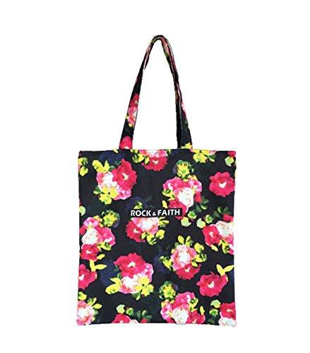 niceEshop(TM) Flor de la Manera Mujeres de la Impresión de Hombro Bolsa de Mano,flores Grandes floral