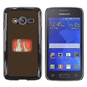 Be Good Phone Accessory // Dura Cáscara cubierta Protectora Caso Carcasa Funda de Protección para Samsung Galaxy Ace 4 G313 SM-G313F // Dogs Couple Love Cartoon Fairytale Drawing