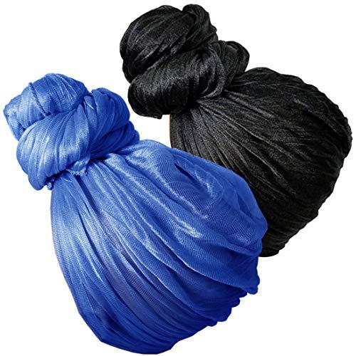 Stretch Head Wrap - Long Black Head Wrap Turban Hair Scarf Tie Color Headband 1 or 2 Set (4a bb blackblue) ()
