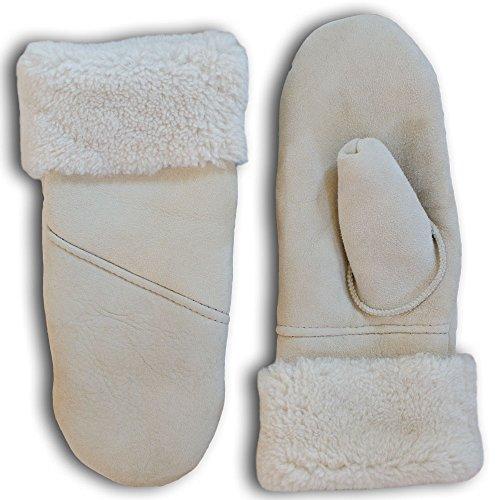 SamWo Chauffe-reins, gants/moufles pour femme, 100% laine d'agneau, Taille: M, Nature Q