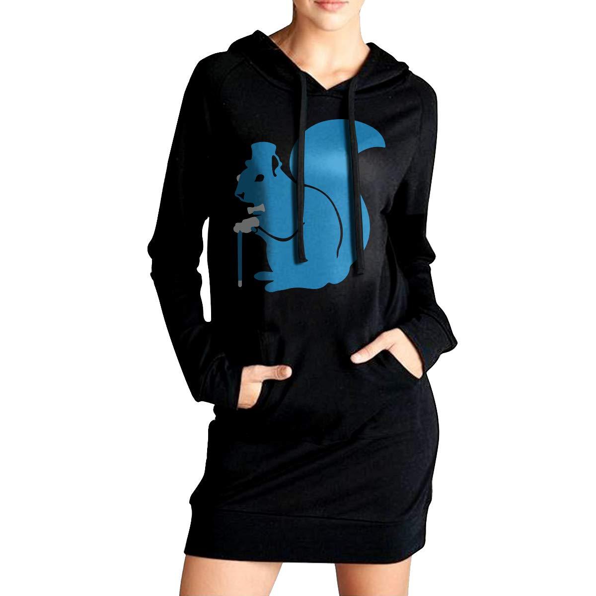 ADA/&KGH Womens Slim Fit Sweatshirt Long Hoodies Dress Fancy Squirrel Sportswear with Pockets