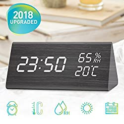 Wooden Alarm Clock, LED Clock With Three Alarms, Alarm Clock for Bedrooms, Digital Clock In 12/24 Time Display Format, 3 Levels Brightness, Date Temperature and Humidity LED Display