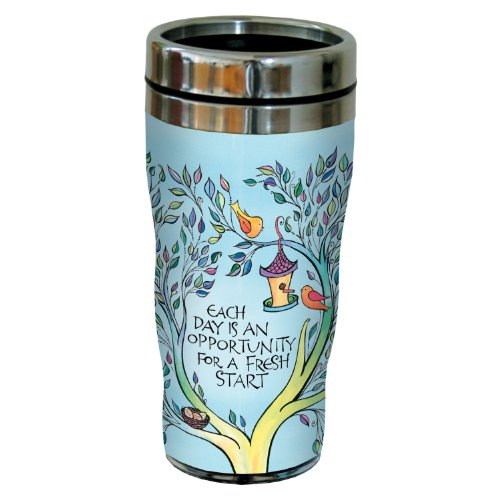 Tree-Free Greetings sg23968 Each Day by Joanne Fink Sip 'N Go Stainless Steel Lined Travel Tumbler, 16-Ounce