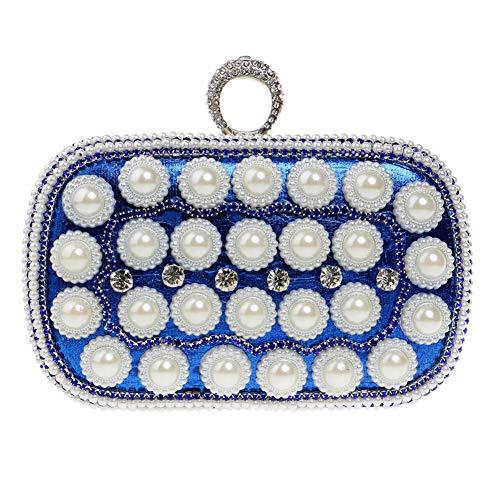Party For Handbags Chain Evening Womens Wallet Pearls Bags Blue Clutches Elegant Purse rwOrU8xaEq