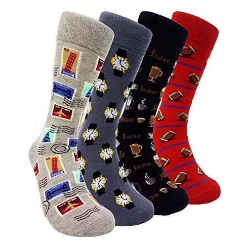(Mens Colorful Dress Socks Stamp - HSELL Men Multicolored Pattern Fashionable Fun Crew Socks (Stamp - 4 Pairs))