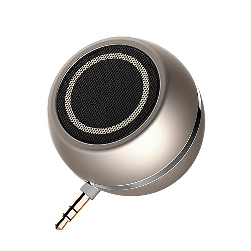 LC-dolida Portable Mini Speakers 3.5mm Aux Audio Jack Plug in Line-in Speaker with Built-in Battery Micro USB Port for Cellphone Tablets iPad iPod laptops MP3 MP4 (Plug and Play) Gold