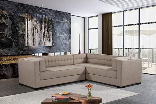 Iconic Home FSA9288-AN Lorenzo Right Facing Sectional Sofa L Shape Linen-Textured Upholstered Tufted Shelter Arm Design Espresso Finished Wood Legs Modern Transitional Sand