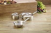Fissler Original Pro 5 pc original profi Stainless Steel Cookware Set - 8 Fry Pan, 3.2qt Sauté Pan w/ lid, 1.5qt Saucepan w/ lid