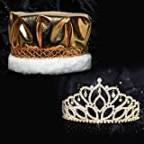 Golden Royalty Set, 2 7/8 inches High Gold Mirabella Tiara and Metallic Gold Crown with Gold Braid, White Fur