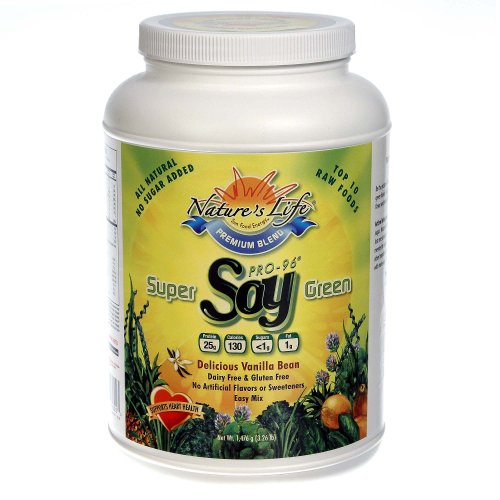 Nature's Life, Super Green  Soy, Delicious Vanilla Bean, Powder, 3.26 Pound Container ()