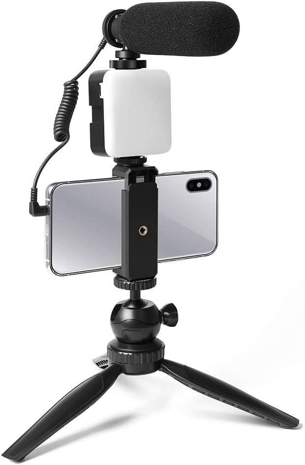 Super-Cardioid-Shotgun-Podcast-Mikrofon mit LED-Licht Kamera,Camcorder Stativ,Mini-Kugelkopf,Telefonhalter Typ C-Schnittstelle on Licht,Kompatibel mit Telefon Smartphone-Kamera-Video Mikrofon-Kit
