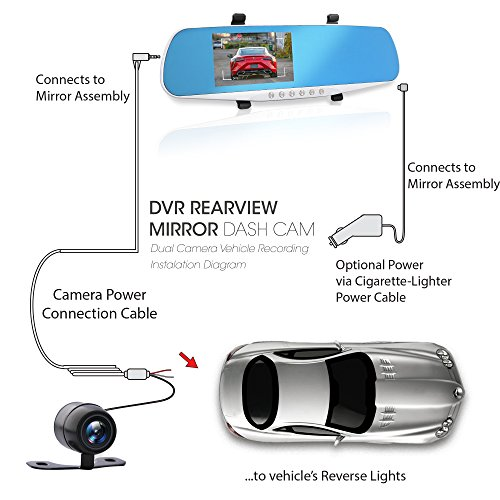 """Dash Cam Rearview Mirror Monitor - 4.3"""" DVR Rear View Dual Camera Video Recording System in Full HD 1080p w/Built in G-Sensor Motion Detect Parking Control Loop Record Support - Pyle PLCMDVR46 by Pyle (Image #4)"""