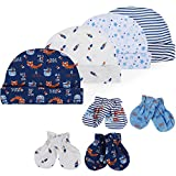 Lictin Newborn Baby Cotton Cap Mitten - 100% Cotton 4pcs Baby Cotton Caps Hats and 4 Pairs Baby Scratch Mitten Gloves for Baby Boy(0-6 Months) (Blue)